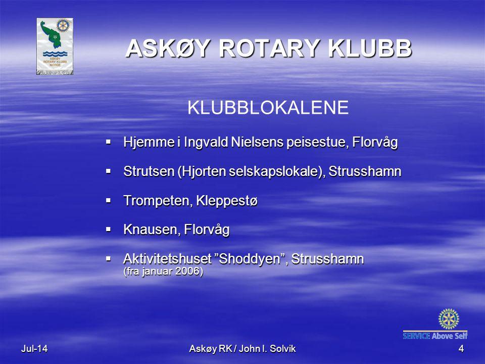 Jul-14Askøy RK / John I. Solvik4 ASKØY ROTARY KLUBB KLUBBLOKALENE  Hjemme i Ingvald Nielsens peisestue, Florvåg  Strutsen (Hjorten selskapslokale),
