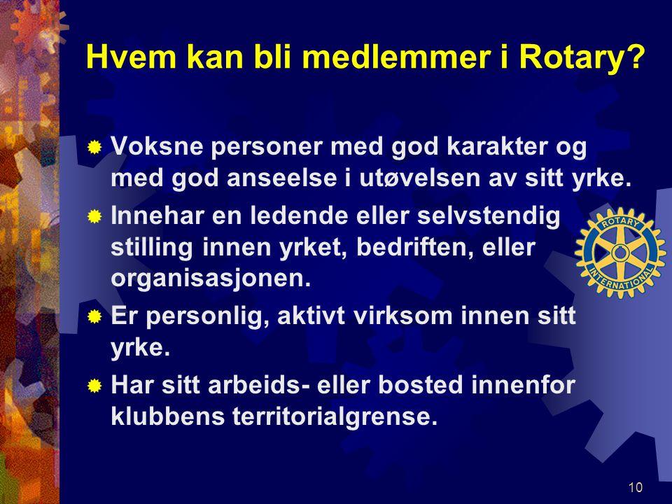Hvem kan bli medlemmer i Rotary.