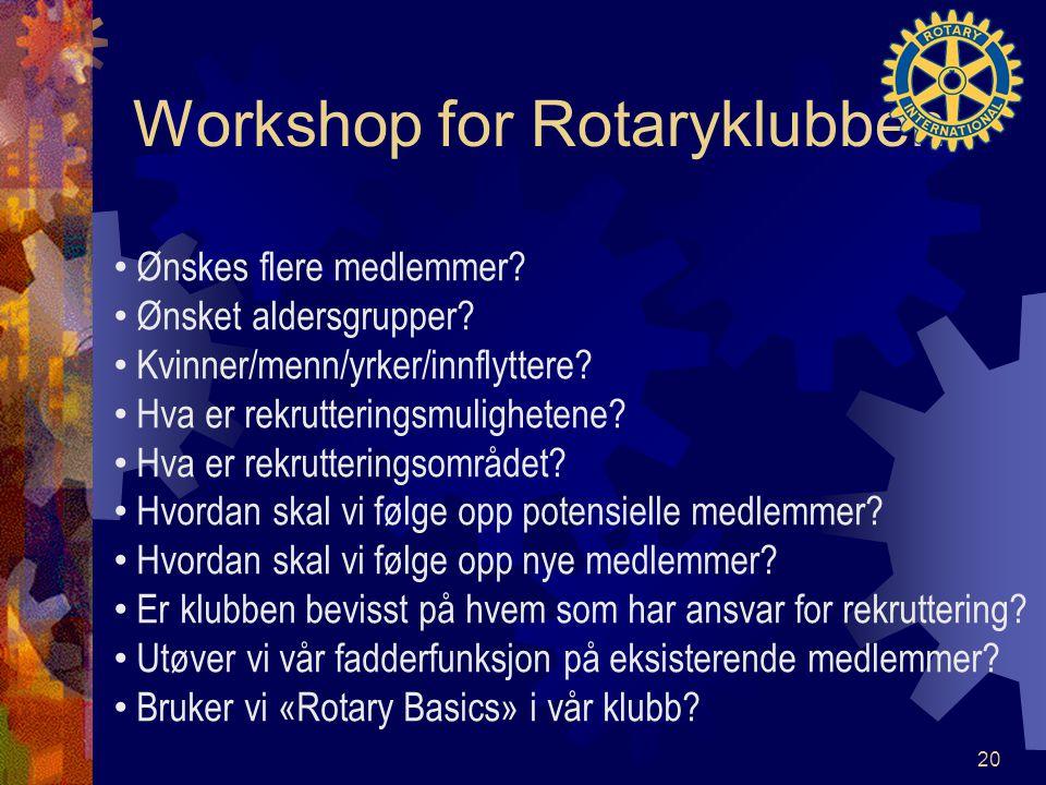 Workshop for Rotaryklubben Ønskes flere medlemmer? Ønsket aldersgrupper? Kvinner/menn/yrker/innflyttere? Hva er rekrutteringsmulighetene? Hva er rekru