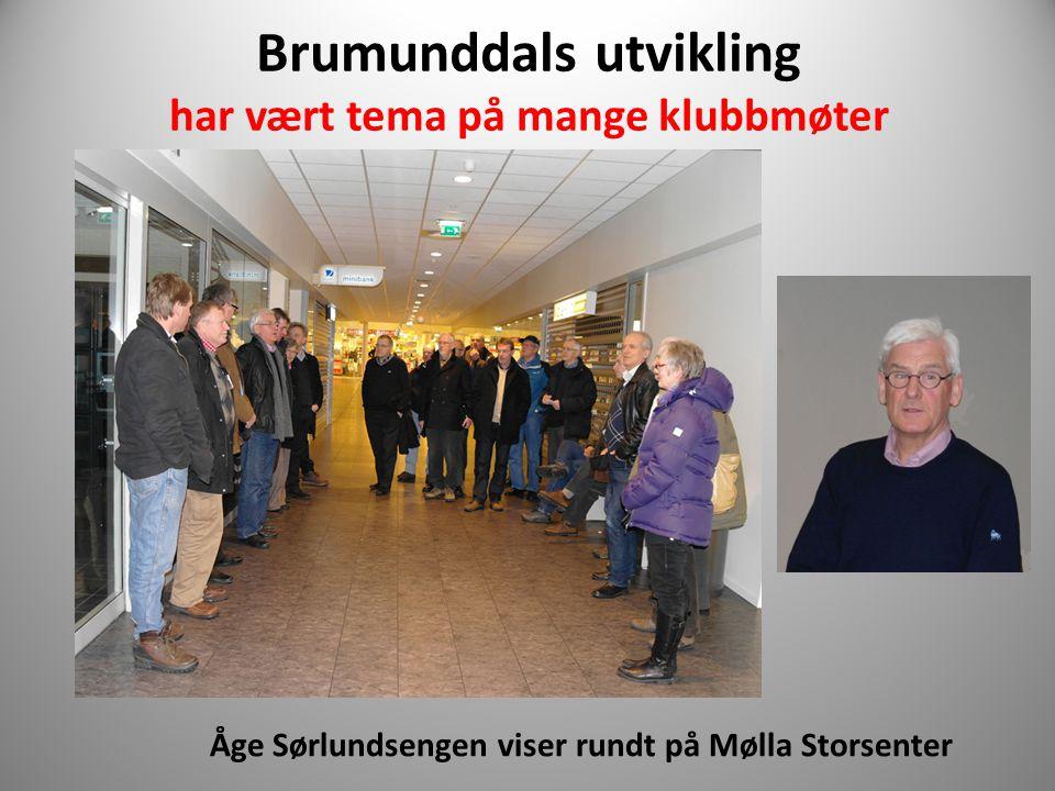 Brumunddals utvikling har vært tema på mange klubbmøter Åge Sørlundsengen viser rundt på Mølla Storsenter