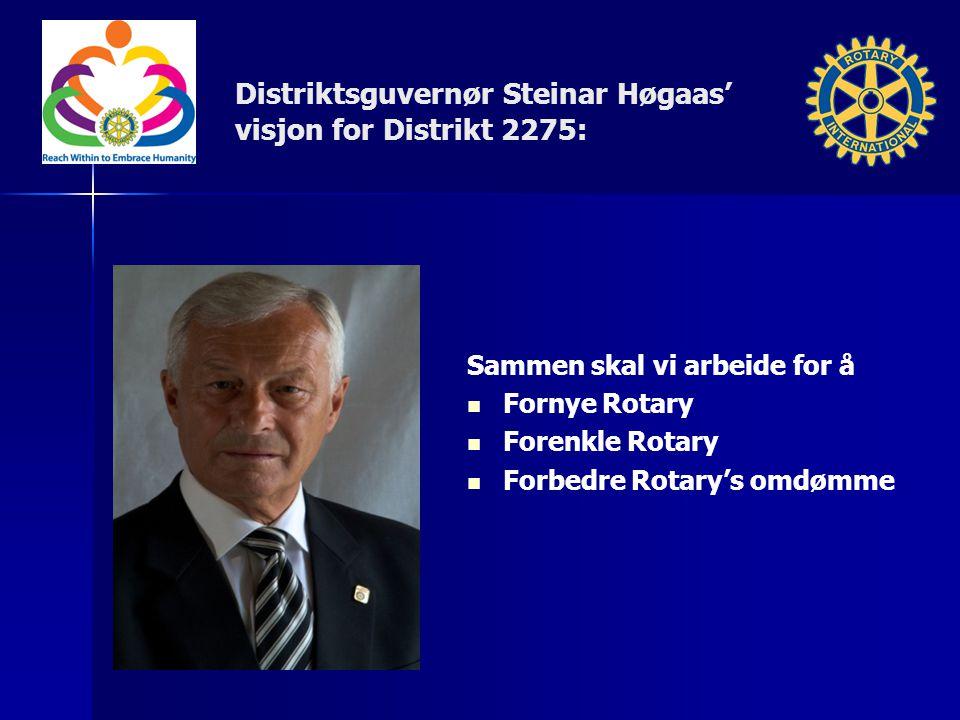 Distriktsguvernør Steinar Høgaas' visjon for Distrikt 2275: Sammen skal vi arbeide for å Fornye Rotary Forenkle Rotary Forbedre Rotary's omdømme