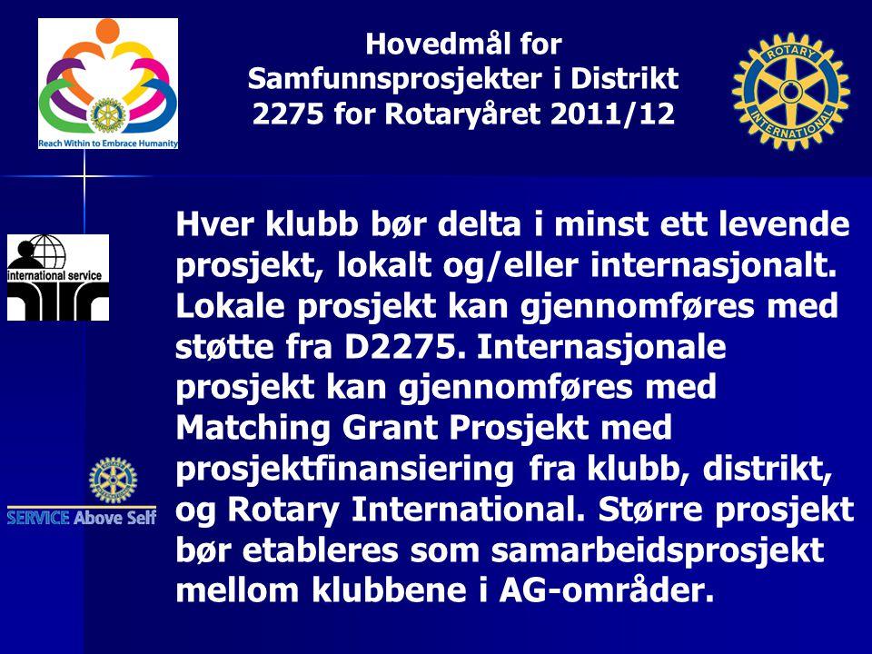 Hovedmål for Samfunnsprosjekter i Distrikt 2275 for Rotaryåret 2011/12 Hver klubb bør delta i minst ett levende prosjekt, lokalt og/eller internasjona
