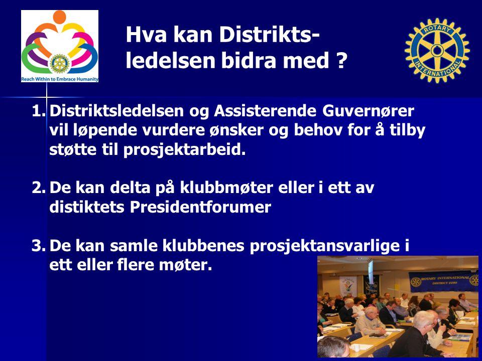 Hva kan Distrikts- ledelsen bidra med ? 1.Distriktsledelsen og Assisterende Guvernører vil løpende vurdere ønsker og behov for å tilby støtte til pros