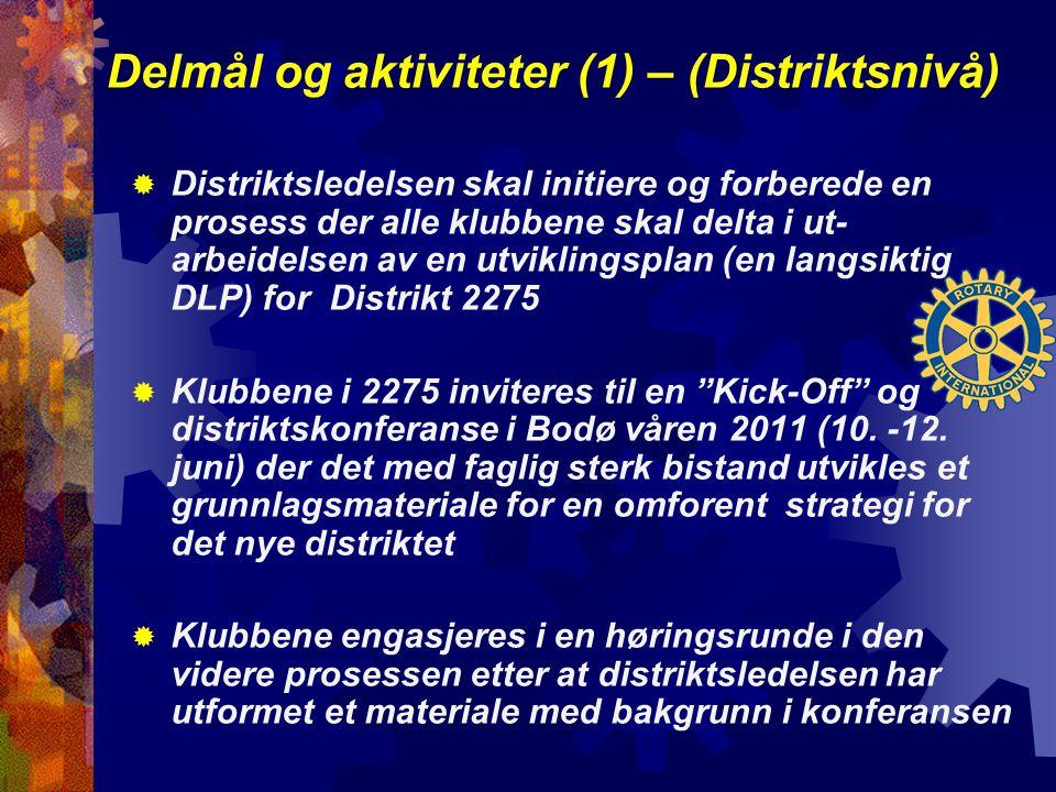 Delmål og aktiviteter (1) – (Distriktsnivå)  Distriktsledelsen skal initiere og forberede en prosess der alle klubbene skal delta i ut- arbeidelsen av en utviklingsplan (en langsiktig DLP) for Distrikt 2275  Klubbene i 2275 inviteres til en Kick-Off og distriktskonferanse i Bodø våren 2011 (10.
