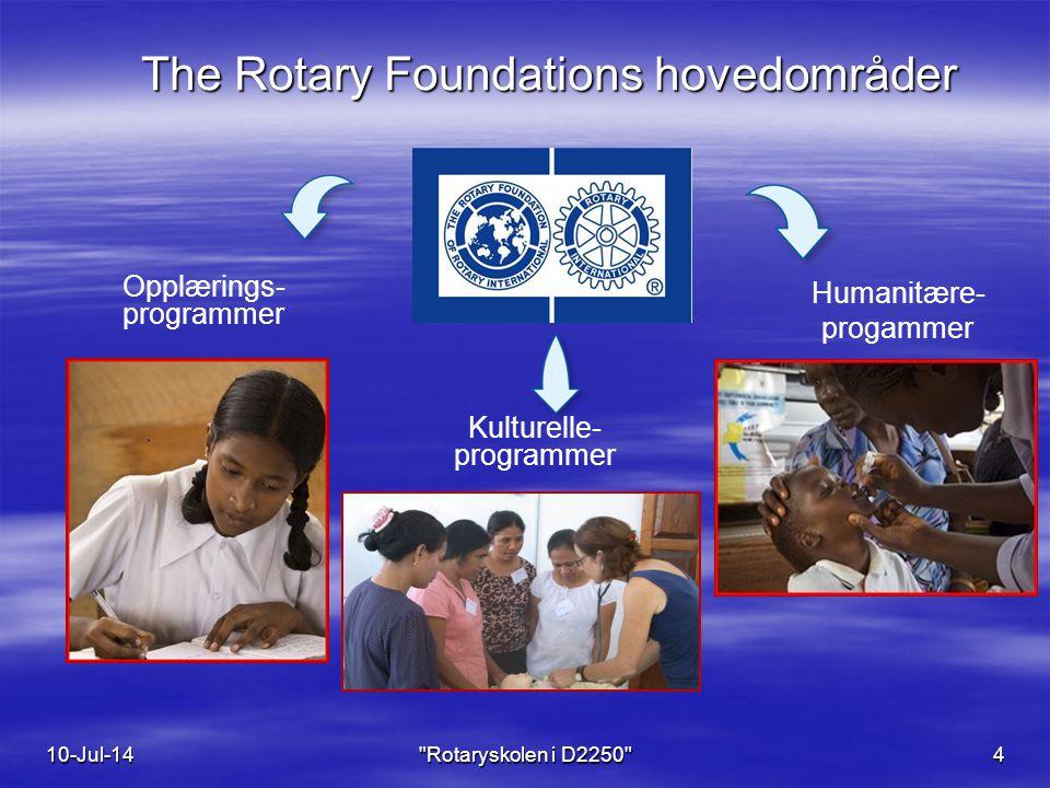 The Rotary Foundations hovedområder Opplærings- programmer Kulturelle- programmer 10-Jul-14 Rotaryskolen i D2250 4 Humanitære- progammer
