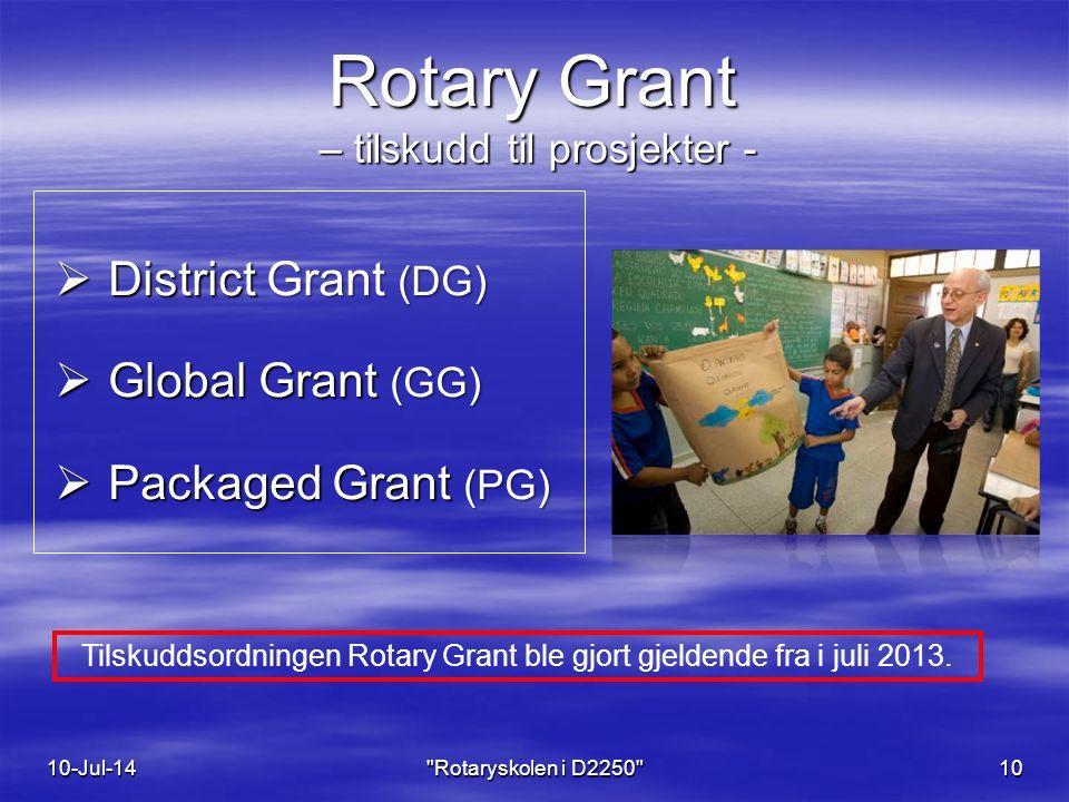 Rotary Grant – tilskudd til prosjekter -  District Grant (DG)  Global Grant (GG)  Packaged Grant (PG) 10-Jul-14 Rotaryskolen i D2250 10 Tilskuddsordningen Rotary Grant ble gjort gjeldende fra i juli 2013.