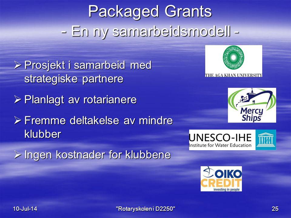 Packaged Grants - En ny samarbeidsmodell -  Prosjekt i samarbeid med strategiske partnere  Planlagt av rotarianere  Fremme deltakelse av mindre klubber  Ingen kostnader for klubbene 10-Jul-14 Rotaryskolen i D2250 25