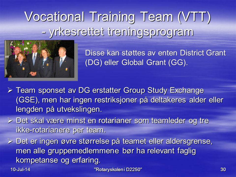 Vocational Training Team (VTT) - yrkesrettet treningsprogram  Team sponset av DG erstatter Group Study Exchange (GSE), men har ingen restriksjoner på deltakeres alder eller lengden på utvekslingen.