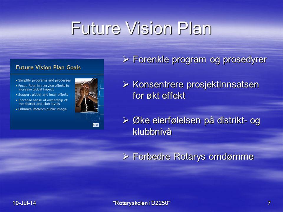 Future Vision Plan 10-Jul-14 Rotaryskolen i D2250 7  Forenkle program og prosedyrer  Konsentrere prosjektinnsatsen for økt effekt  Øke eierfølelsen på distrikt- og klubbnivå  Forbedre Rotarys omdømme