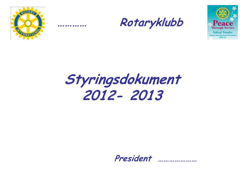 Styringsdokument 2012- 2013 President ………………… ………… Rotaryklubb