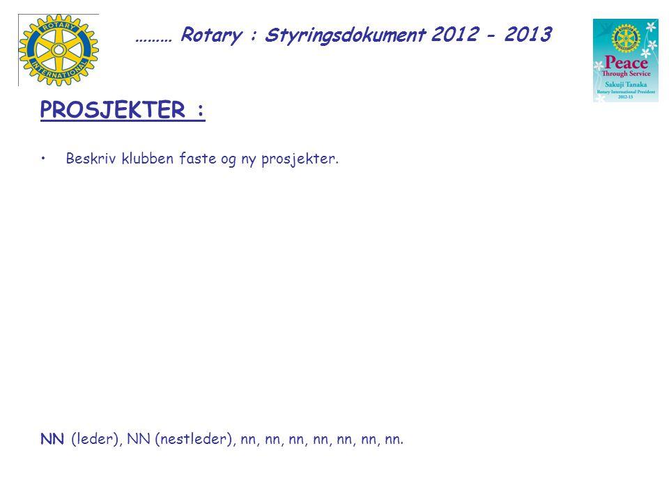 ……… Rotary : Styringsdokument 2012 - 2013 PROSJEKTER : Beskriv klubben faste og ny prosjekter.