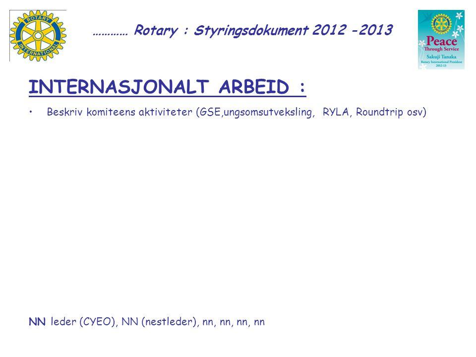 ………… Rotary : Styringsdokument 2012 -2013 INTERNASJONALT ARBEID : Beskriv komiteens aktiviteter (GSE,ungsomsutveksling, RYLA, Roundtrip osv) NN leder (CYEO), NN (nestleder), nn, nn, nn, nn