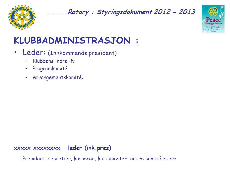 ……………Rotary : Styringsdokument 2012 - 2013 KLUBBADMINISTRASJON : Leder: (Innkommende president) –Klubbens indre liv –Programkomité –Arrangementskomité.