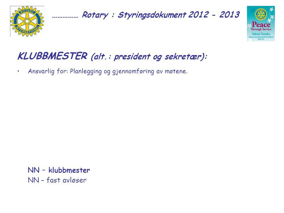…………… Rotary : Styringsdokument 2012 - 2013 KLUBBMESTER (alt.: president og sekretær): Ansvarlig for: Planlegging og gjennomføring av møtene.
