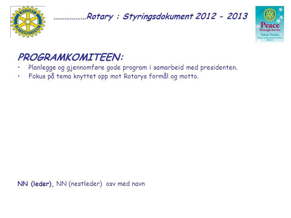 ………………Rotary : Styringsdokument 2012 - 2013 PROGRAMKOMITEEN: Planlegge og gjennomføre gode program i samarbeid med presidenten.