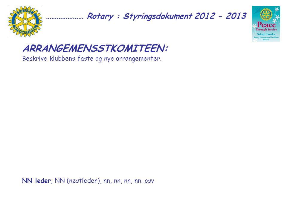 ………………… Rotary : Styringsdokument 2012 - 2013 ARRANGEMENSSTKOMITEEN: Beskrive klubbens faste og nye arrangementer.
