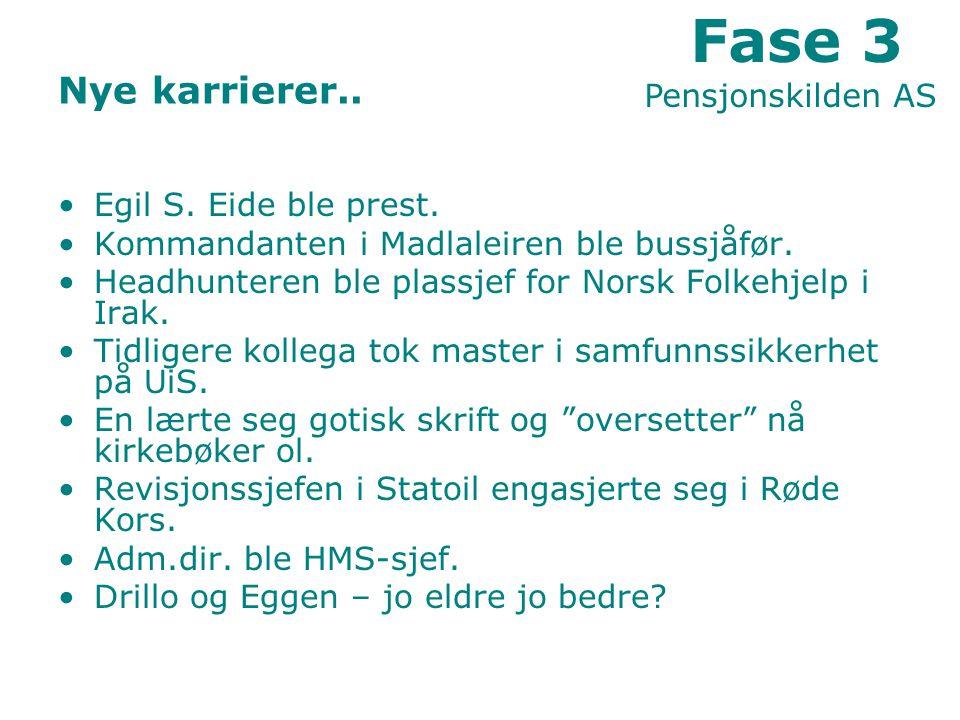 Nye karrierer..Egil S. Eide ble prest. Kommandanten i Madlaleiren ble bussjåfør.