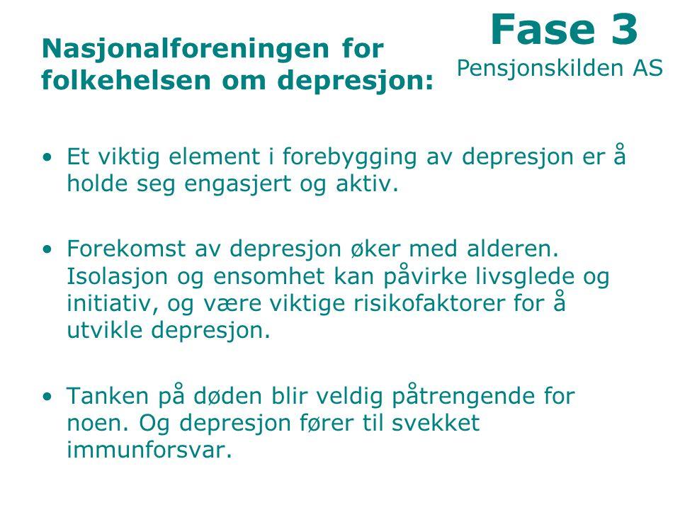 Nasjonalforeningen for folkehelsen om depresjon: Et viktig element i forebygging av depresjon er å holde seg engasjert og aktiv.