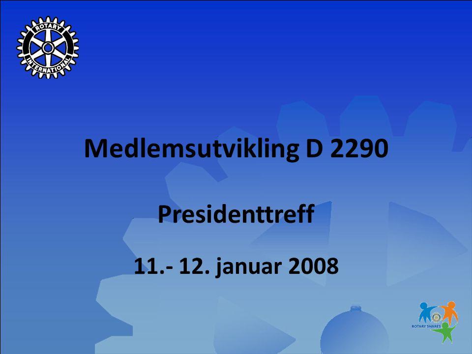 Medlemsutvikling D 2290 Presidenttreff 11.- 12. januar 2008