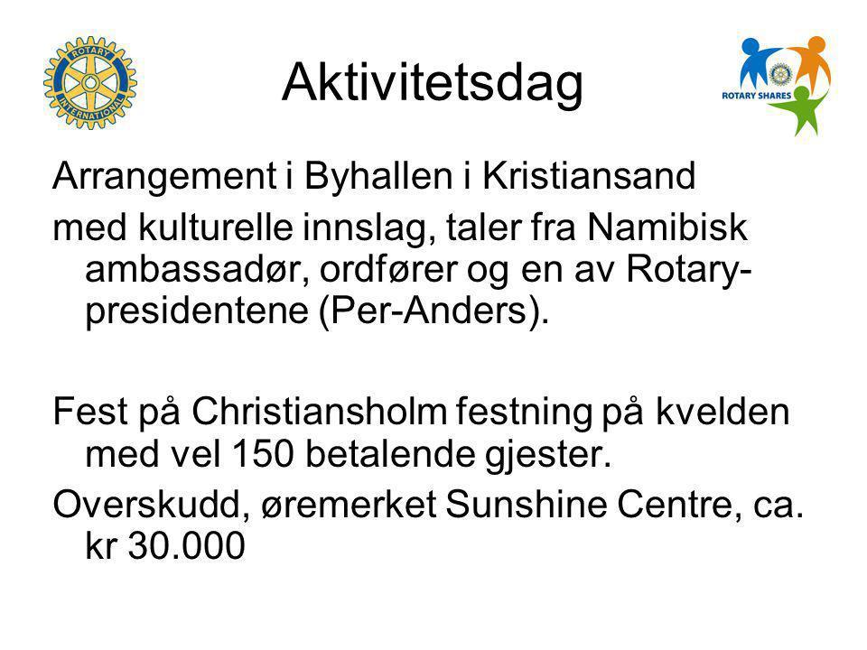 Aktivitetsdag Arrangement i Byhallen i Kristiansand med kulturelle innslag, taler fra Namibisk ambassadør, ordfører og en av Rotary- presidentene (Per-Anders).