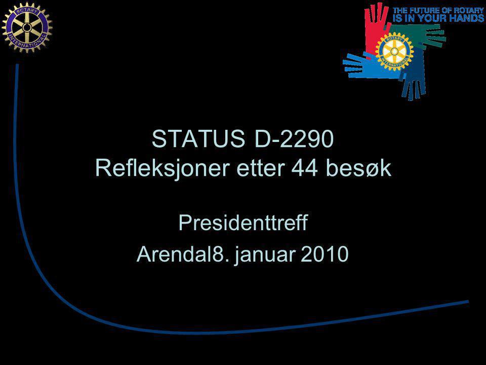 STATUS D-2290 Refleksjoner etter 44 besøk Presidenttreff Arendal8. januar 2010