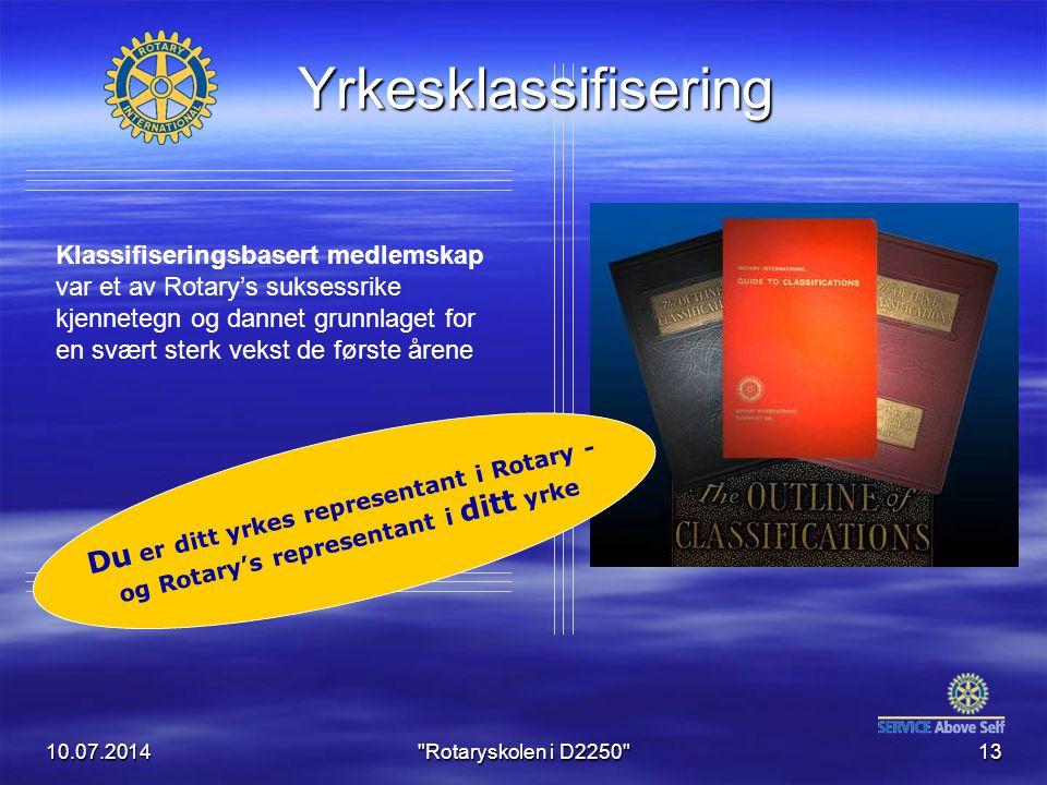 10.07.2014 Rotaryskolen i D2250 13 Du er ditt yrkes representant i Rotary - og Rotary's representant i ditt yrke Yrkesklassifisering Klassifiseringsbasert medlemskap var et av Rotary's suksessrike kjennetegn og dannet grunnlaget for en svært sterk vekst de første årene
