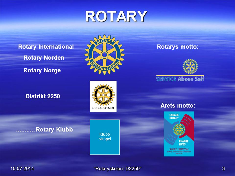 10.07.2014 Rotaryskolen i D2250 4 Rotaryåret 2013 - 2014 Tove Kayser Guvernør D-2250 NN Klubbpresident Ron Button Verdenspresident Sett inn bilde av presidenten