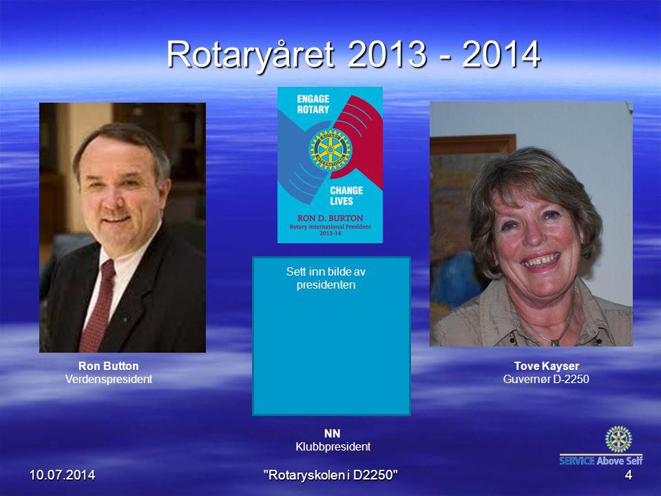 10.07.2014 Rotaryskolen i D2250 15 Rotasjonsprinsippet Alle verv (internasjonal, nasjonalt og lokalt) roterer hvert år.