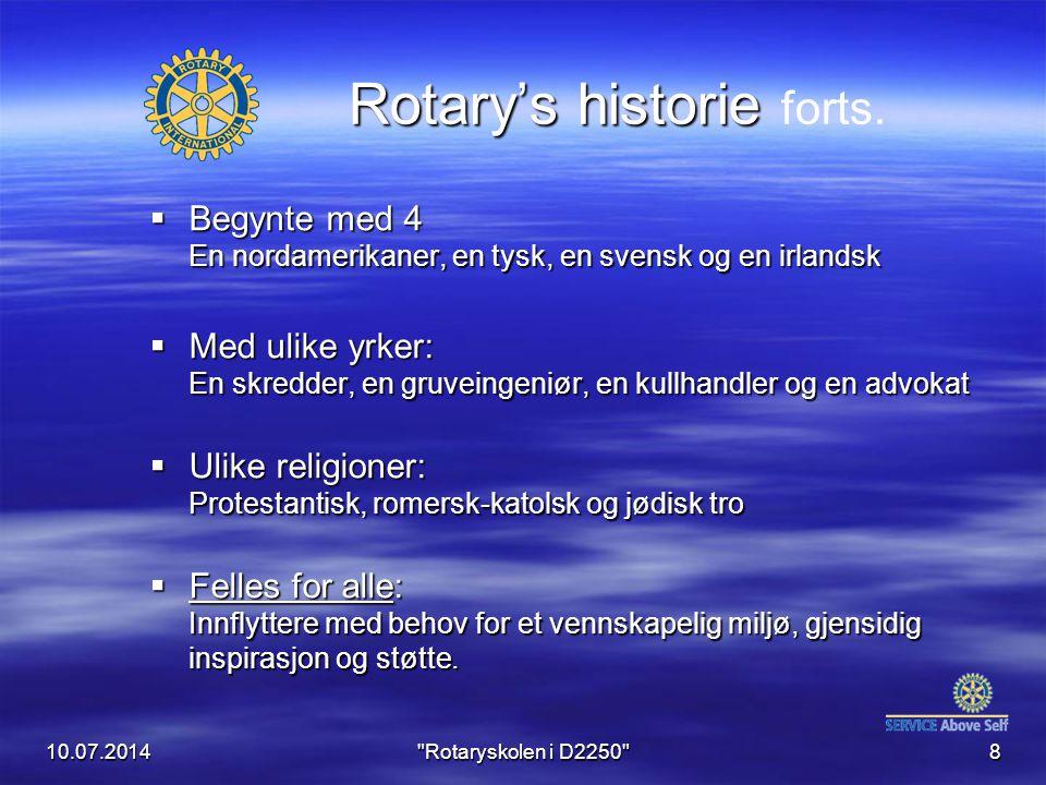 10.07.2014 Rotaryskolen i D2250 19 Rotary's historie i Norge  Kom til Norge juni 1922  Først Kristiania Rotary Klubb  Så Stavanger & Bergen 1924  Første Rotary Distrikt i 1927  Norge høyest rotarianer tetthet  7 distrikter  338 klubber med ca.