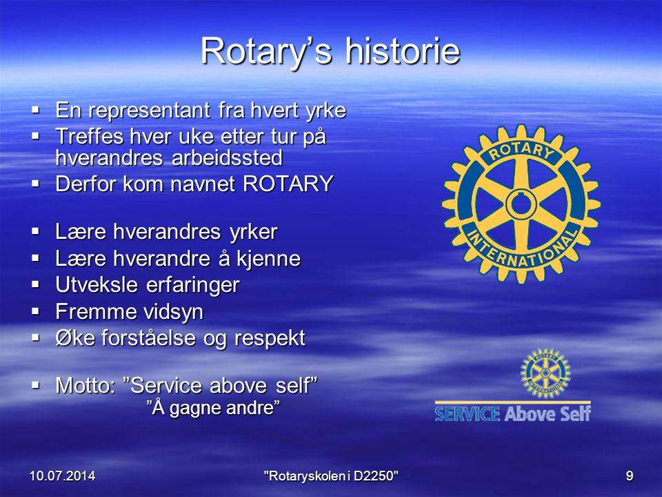 10.07.2014 Rotaryskolen i D2250 10 Utbredelsen av Rotary..startet i Midtvesten, i Chicago, Illinois, USA, og spredte seg raskt både innenfor USA og til andre land