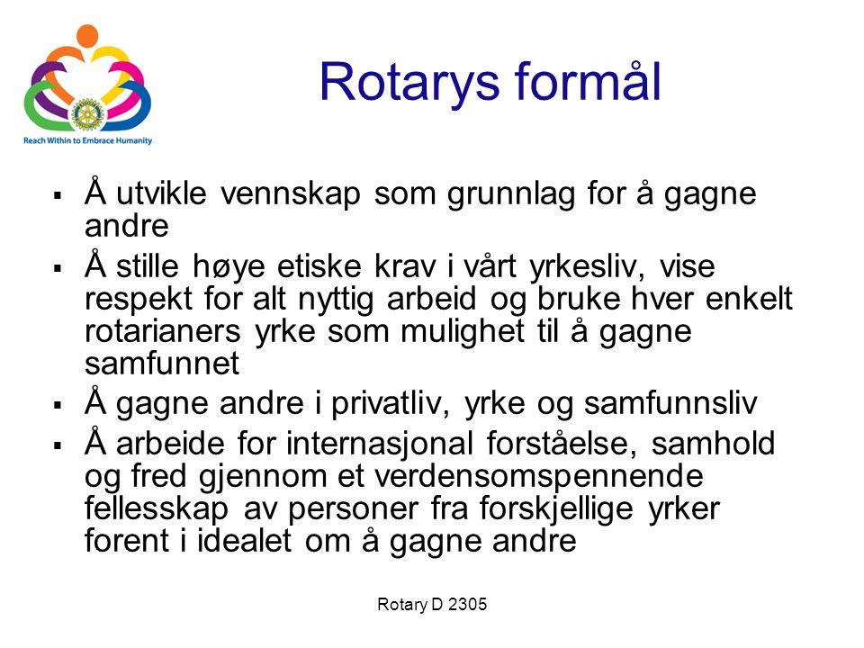 Rotary D 2305 Rotarys formål  Å utvikle vennskap som grunnlag for å gagne andre  Å stille høye etiske krav i vårt yrkesliv, vise respekt for alt nyt