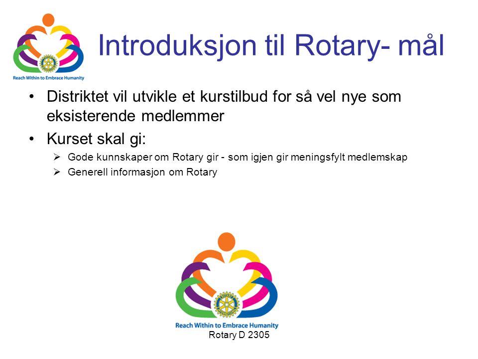 Rotary D 2305 Introduksjon til Rotary- mål Distriktet vil utvikle et kurstilbud for så vel nye som eksisterende medlemmer Kurset skal gi:  Gode kunns