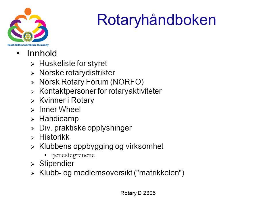 Rotary D 2305 Rotaryhåndboken Innhold  Huskeliste for styret  Norske rotarydistrikter  Norsk Rotary Forum (NORFO)  Kontaktpersoner for rotaryaktiv