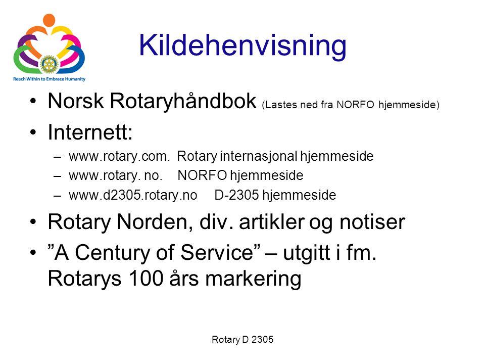 Rotary D 2305 Kildehenvisning Norsk Rotaryhåndbok (Lastes ned fra NORFO hjemmeside) Internett: –www.rotary.com. Rotary internasjonal hjemmeside –www.r