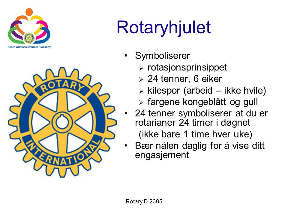 Rotary D 2305 Rotaryhjulet Symboliserer  rotasjonsprinsippet  24 tenner, 6 eiker  kilespor (arbeid – ikke hvile)  fargene kongeblått og gull 24 te