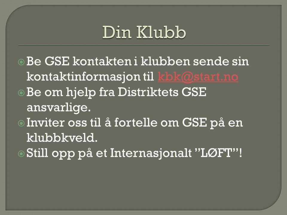  Be GSE kontakten i klubben sende sin kontaktinformasjon til kbk@start.nokbk@start.no  Be om hjelp fra Distriktets GSE ansvarlige.  Inviter oss til