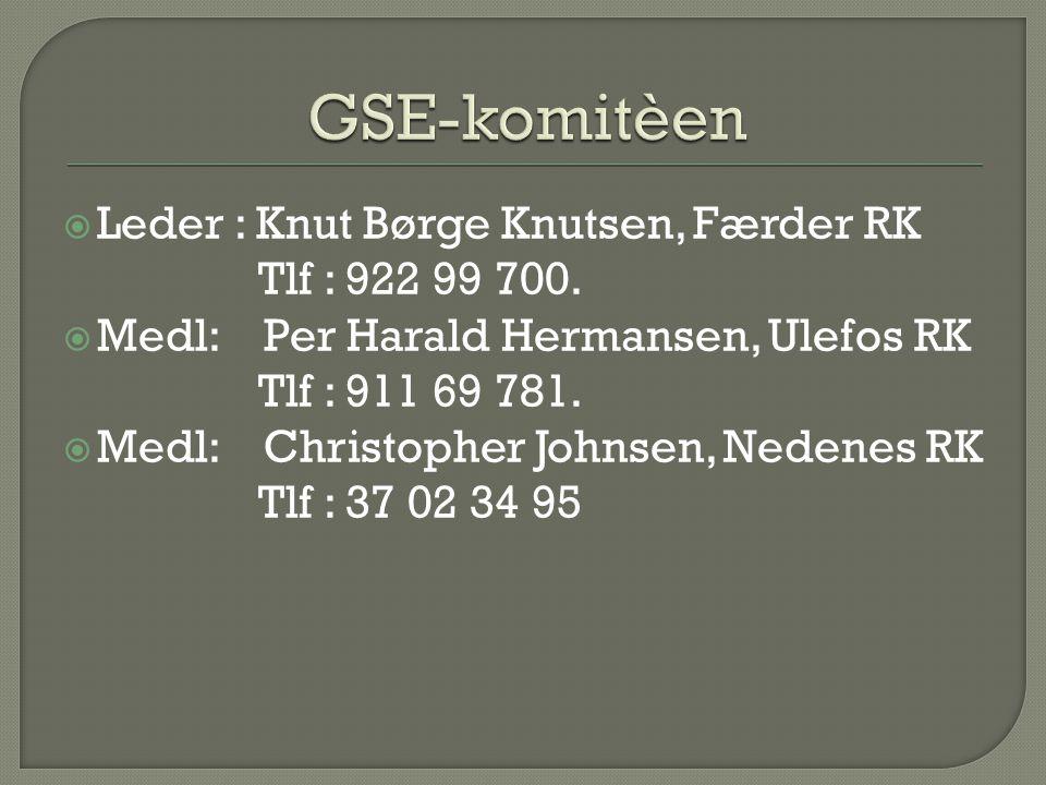  Leder : Knut Børge Knutsen, Færder RK Tlf : 922 99 700.  Medl: Per Harald Hermansen, Ulefos RK Tlf : 911 69 781.  Medl: Christopher Johnsen, Neden