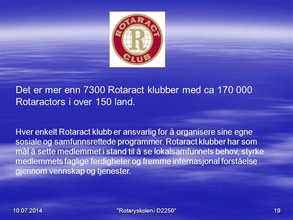 10.07.201419 Det er mer enn 7300 Rotaract klubber med ca 170 000 Rotaractors i over 150 land. Hver enkelt Rotaract klubb er ansvarlig for å organisere