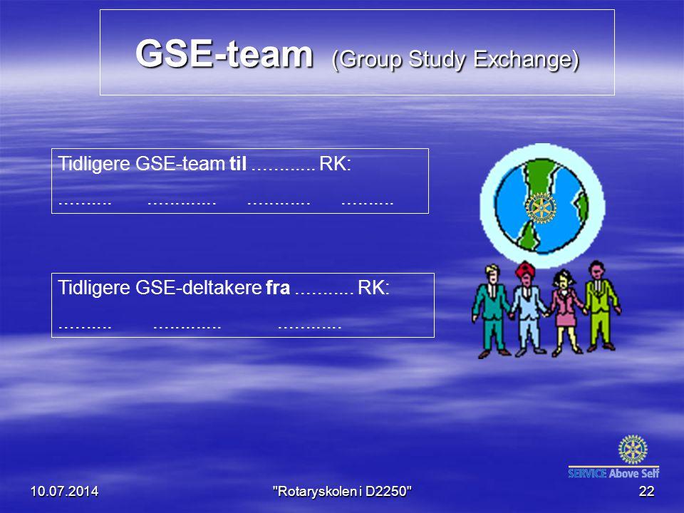 GSE-team (Group Study Exchange) 10.07.201422 Tidligere GSE-team til............ RK:............................................. Tidligere GSE-deltake