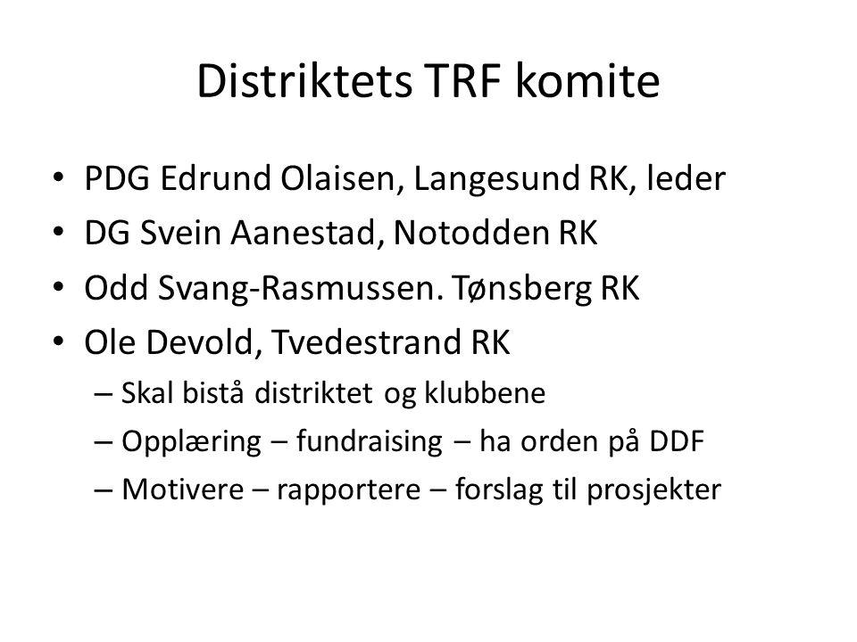 Distriktets TRF komite PDG Edrund Olaisen, Langesund RK, leder DG Svein Aanestad, Notodden RK Odd Svang-Rasmussen.