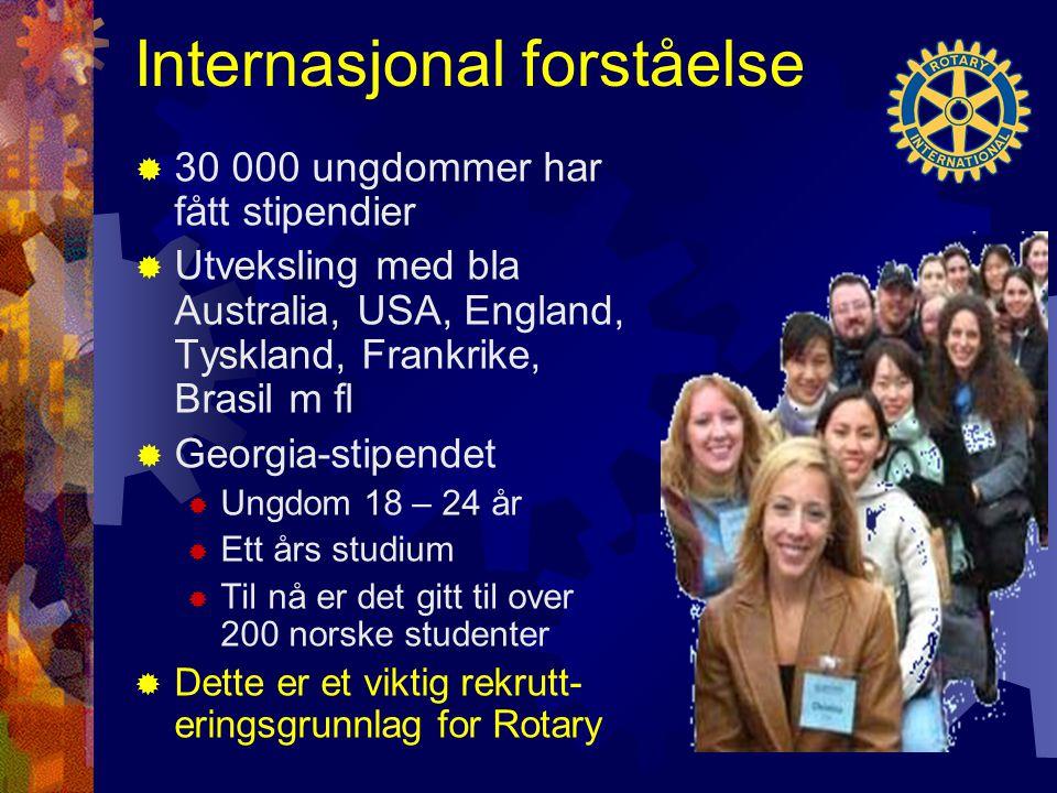 Internasjonal forståelse  30 000 ungdommer har fått stipendier  Utveksling med bla Australia, USA, England, Tyskland, Frankrike, Brasil m fl  Georgia-stipendet  Ungdom 18 – 24 år  Ett års studium  Til nå er det gitt til over 200 norske studenter  Dette er et viktig rekrutt- eringsgrunnlag for Rotary