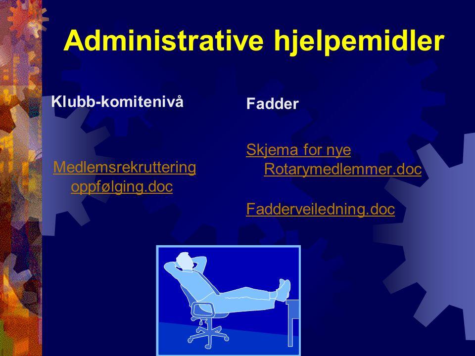 Administrative hjelpemidler Klubb-komitenivå Medlemsrekruttering oppfølging.doc Fadder Skjema for nye Rotarymedlemmer.doc Fadderveiledning.doc