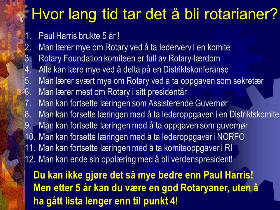 Hvor lang tid tar det å bli rotarianer. 1.Paul Harris brukte 5 år .
