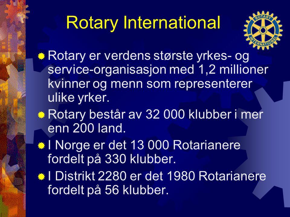 Rotary International  Rotary er verdens største yrkes- og service-organisasjon med 1,2 millioner kvinner og menn som representerer ulike yrker.