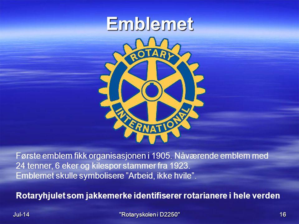 Jul-1416 Emblemet Første emblem fikk organisasjonen i 1905.