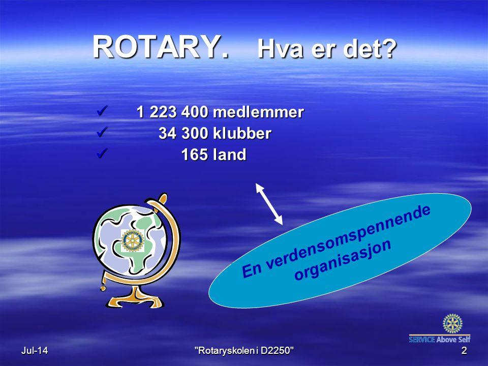 Jul-143 ROTARY Rotary InternationalRotarys motto: Distrikt 2250 Rotary Norge Austrheim Rotary Klubb Årets motto: Rotary Norden Austrheim RK / Øystein A
