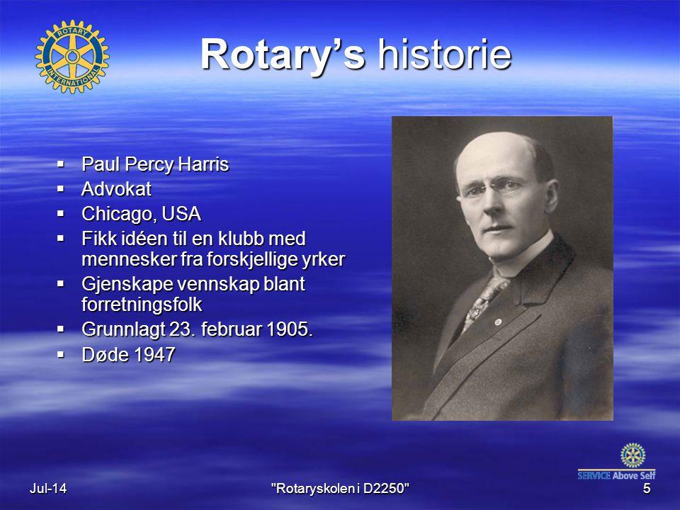 Jul-145 Rotary's historie  Paul Percy Harris  Advokat  Chicago, USA  Fikk idéen til en klubb med mennesker fra forskjellige yrker  Gjenskape vennskap blant forretningsfolk  Grunnlagt 23.