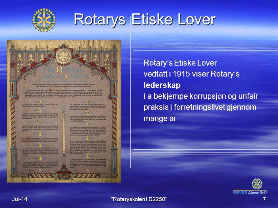 Jul-147 Rotary's Etiske Lover vedtatt i 1915 viser Rotary's lederskap i å bekjempe korrupsjon og unfair praksis i forretningslivet gjennom mange år Rotarys Etiske Lover Rotaryskolen i D2250