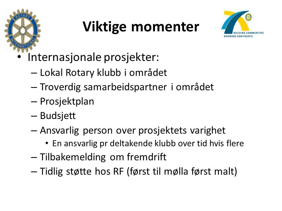 Viktige momenter Internasjonale prosjekter: – Lokal Rotary klubb i området – Troverdig samarbeidspartner i området – Prosjektplan – Budsjett – Ansvarl