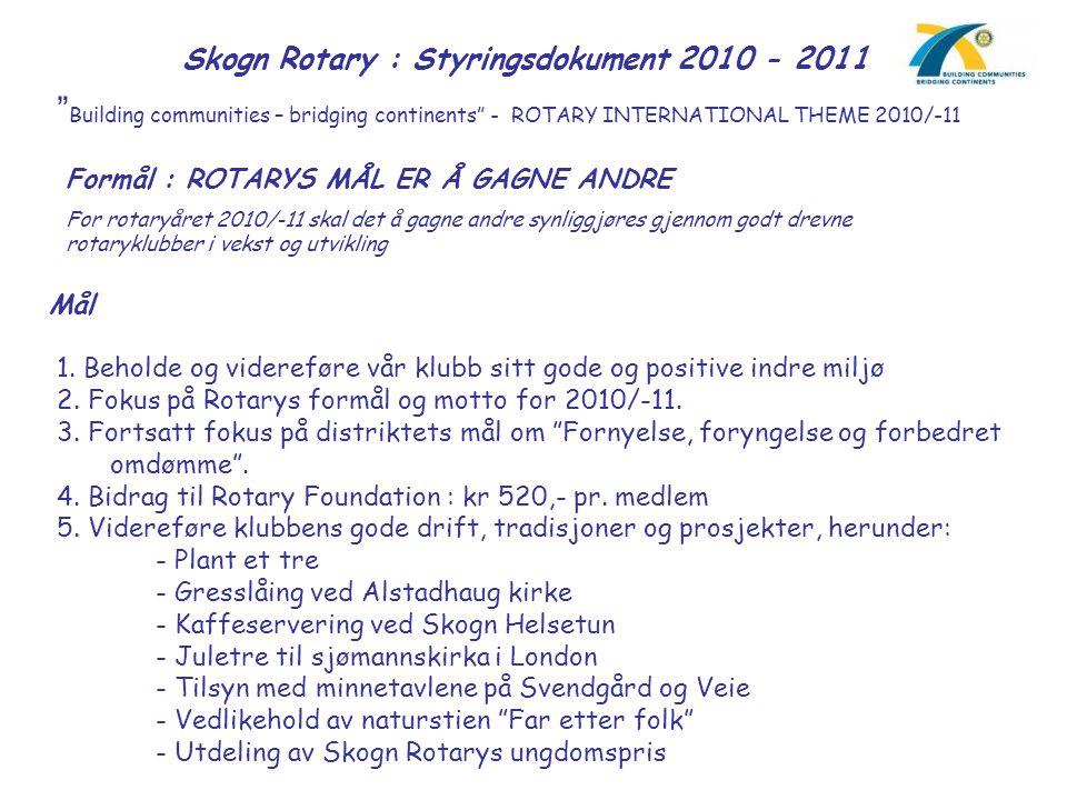 Skogn Rotary : Styringsdokument 2010 - 2011 Mål (forts.